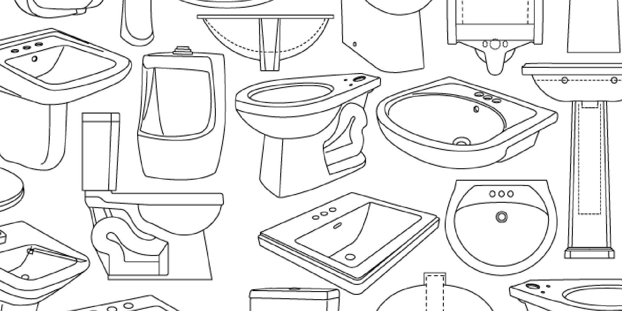 Contrac Sketches of Bathroom Plumbing